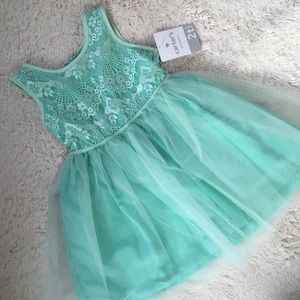 Mint Lace and Tulle Dress